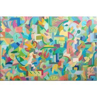 Лесной пожар. Картина масло холст, яркая абстракция, абстрактная картина мозаика витраж