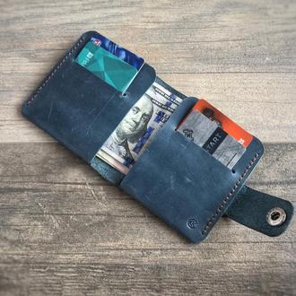 Кожаный кошелек-портмоне Smart. Все необходмое с тобой! Бирюза