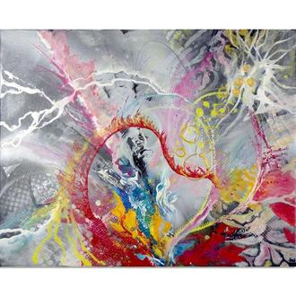 День I. Абстрактная картина, яркая абстракция, живопись акрил на холсте