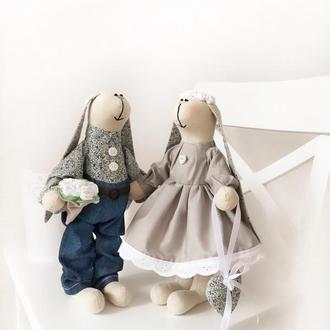 Пара заек тильда подарок на новоселье свадьбу годовщину день рождения дочке девушке