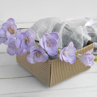 Цветочный венок Фрезия сиреневая, Венок на голову из цветов