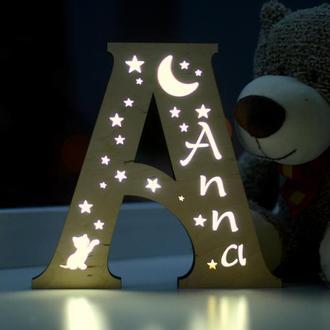 Ночник для ребенка из дерева - Anna
