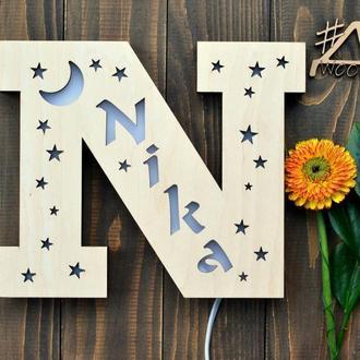 Светильник в форме буквы с именем - Nika