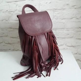 Рюкзак из натуральной кожи флотар с бахромой. Цвет бордовый.