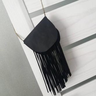 Сумка из натуральной кожи Флотар с бахромой. Цвет черный.