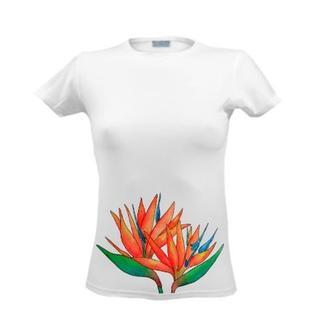 Футболка с цветочным принтом, летним принтом, рисунком, цветком Стрелиция, тропики