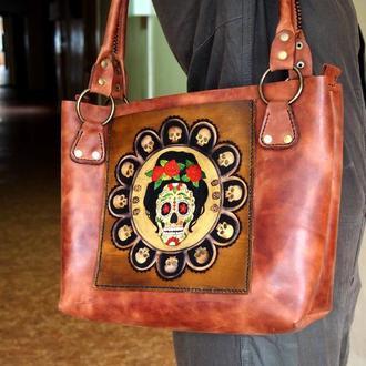 Кожаная сумка женская Черепки