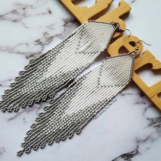 Серьги из бисера, серебрянные серьги, длинные серьги из бисера