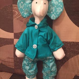 Слоник Эллай. Игрушка Тильда. Handmade