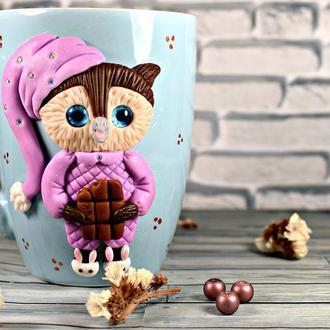 Кружка с декором, чашка с декором, кружка из полимерной глины, кружка сова, чашка из полимерной глин