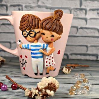 кружка с декором, чашка с декором, чашка из полимерной глины, кружка с декором ручная работа