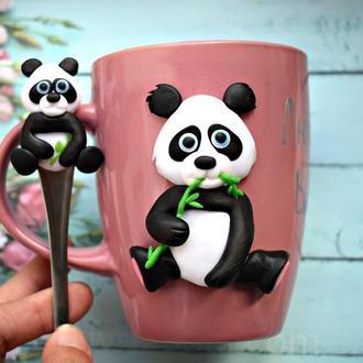 Кружка панда, чашка панда, кружка с декором, чашка с декором, детская чашка, чашка ручная работа