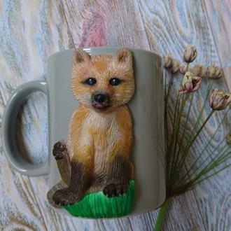 """Чашка с декором из полимерной глины """"Лисёнок"""" 🦊"""