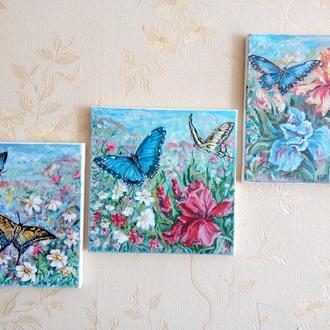 Картина триптих Метелики і квіти