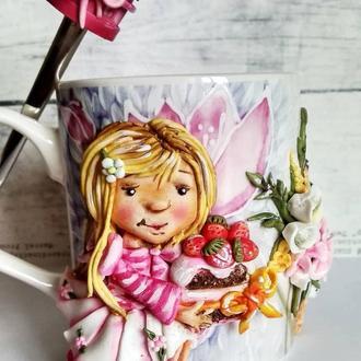Чашка  и ложка декорированная полимерной глиной