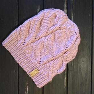 Шапка попелясто-рожевого кольору з шовком і кашеміром