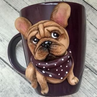 Чашка декорированная полимерной глиной