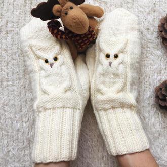 Рукавицы вязанные с совами, подарок для любителей сов, варежки шерстяные, подарок на Новый Год