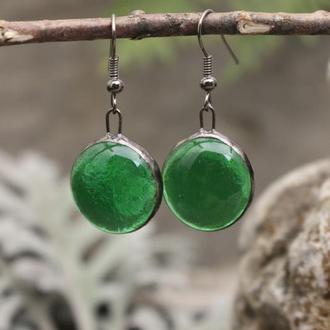 Серьги тиффани зеленые