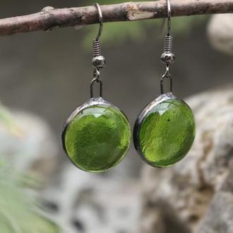 Серьги тиффани зеленые Подарок девушке