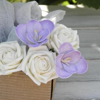 Шпильки с цветами Pозы и фрезия 5 шт, набор шпилек, свадебные шпильки
