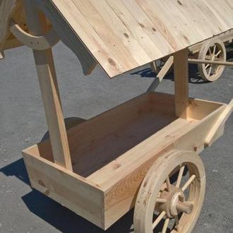 Деревянная телега; Декоративная тележка для интерьера из массива сосны