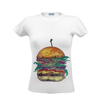 Футболка с принтом бутерброд, летним принтом, рисунком, бургер