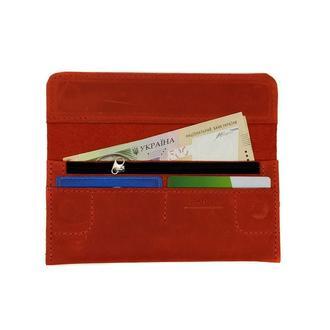 Кошелёк Портмоне на магнитах из Натуральной Кожи Красный magnets