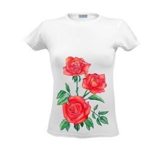 Футболка с цветочным принтом, летним принтом, рисунком, цветами Краснае розы, цветы акварель