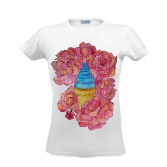 Футболка с цветочным принтом, летним принтом, рисунком, цветы пионы и мороженое, сладости