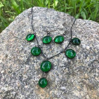 Комплет украшений тиффани из яркого зеленого стекла