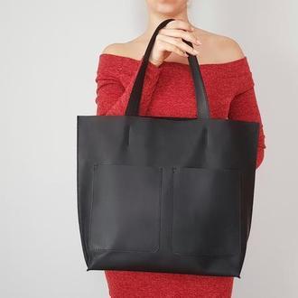 Чёрная кожаная сумка Tempo Tote
