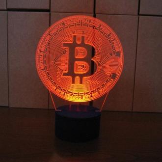 Биткоин, ночник светильник лампа, подарок программисту компьютерщику майнинг, сувенир декор