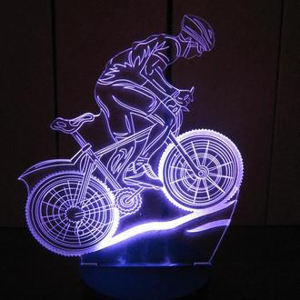Велосипедист, ночник светильник лампа, подарок велосипедисту коллеге другу, декор, в спальню