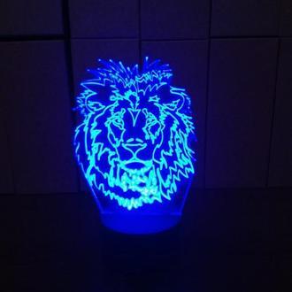 Лев, ночник лампа светильник, подарок мужчине парню льву, декор дизайн освещение