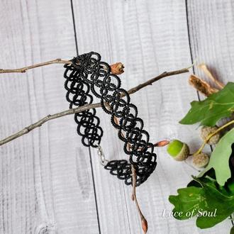 Широкий черный кружевной браслет на ногу Фриволите
