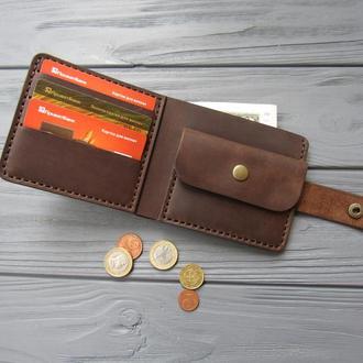 Кожаное мужское портмоне классика с монетницей_карманный мужской кошелек