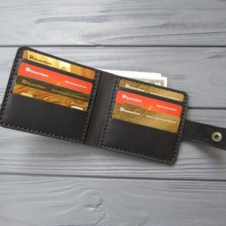 Кожаное мужское портмоне ALONZO _компактное мужское портмоне из кожи без монетницы_подарок мужчине