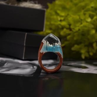 Кольцо из экзотической древесины данта, кольцо из дерева и смолы, подарок для девушки