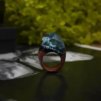 Перстень с горами из экзотической древесины сапеле, кольцо из дерева, подарок для нее