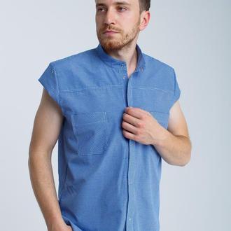 Рубашка без рукавов, мелкая синяя клетка