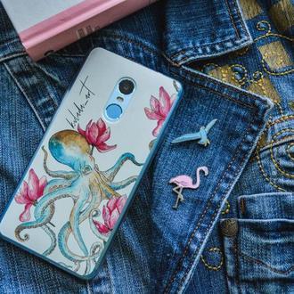 Чехол на телефон осминог, необычный оригинальный акварельный дизайн на заказ для любой модели