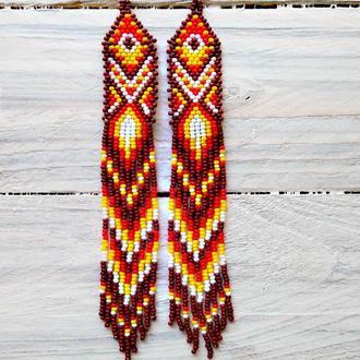 Серьги из бисера, длинные серьги