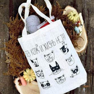 Еко-сумка з авторським принтом. Матеріал льон + конопля.
