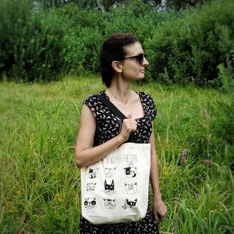 Удобная эко-сумка шоппер из хлопка.