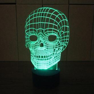 Череп, 3d акриловый светильник ночник,  необычный подарок сувенир декор для дома