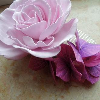 Гребень с розой и гортензией