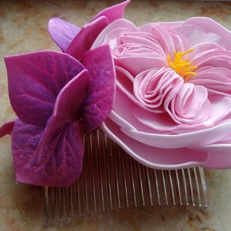 Гребень с пионовидной розой и гортензией