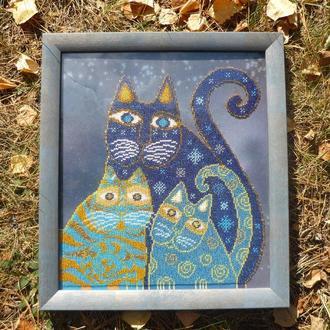 """Картина вышитая бисером  """"Синие коты"""""""