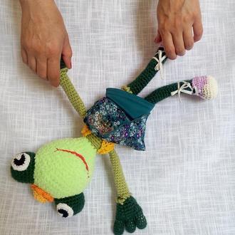 Игрушка Лягушка вязаная. Кукла Жаба. Вязаная игрушка Зеленая Лягушка.